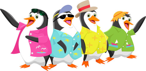 happy cartoon penguin on a summer holiday