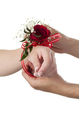 wrist with rose corsage