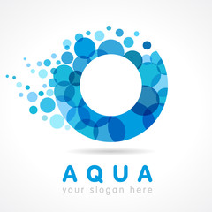 Aqua O logo. Logo of tourism, resort or hotel by the sea in letter O bubbles