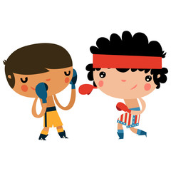 cute boxing kids. american boxer character.