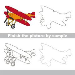 Biplane. Drawing worksheet.