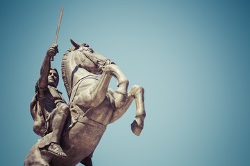 "Warrior on a Horse statue ""Alexander the Great"" on Skopje Square"