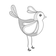 Vector Bird. Coloring page with zentangled bird. Hand drawn patt
