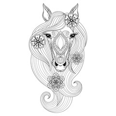Vector Horse. Coloring page with Horse face. Hand drawn patterne