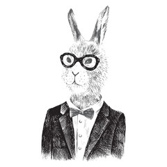 dressed up bunny boy in hipster style