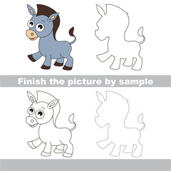 Donkey. Drawing worksheet.