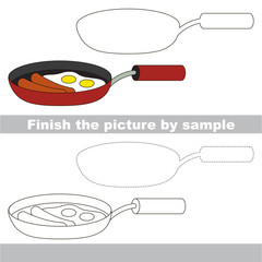 Fry pan. Drawing worksheet.