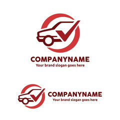 Car Service Logo Template with Check Symbol