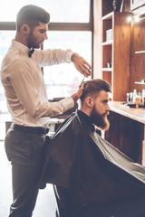 Barber at work.