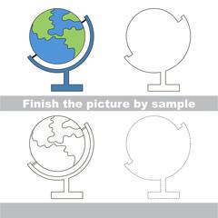 Globe. Drawing worksheet.