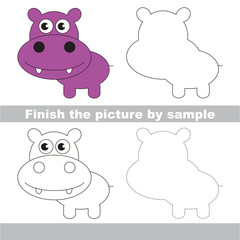 Hippo. Drawing worksheet.