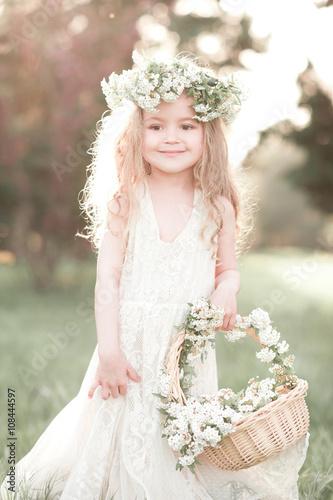 """""""Cute kid girl 4-5 year old with basket of flowers wearing ...  """"Cute kid ..."""
