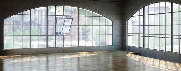 Empty Postindustrial Office Area (panoramic)