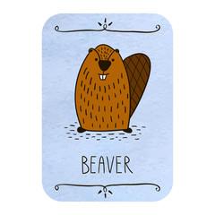 Cute beaver. Card.