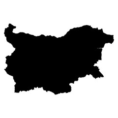 Bulgaria black map on white background vector