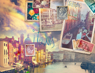 Door stickers Imagination Vacanze in Italia,cartoline vintage di Venezia