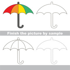 Umbrella. Drawing worksheet.