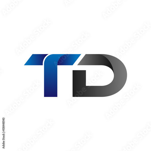 Modern Simple Initial Logo Vector Blue Grey Letters Td Stock Image
