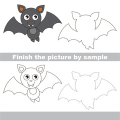 Vampire bat. Drawing worksheet.