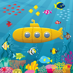 Submarine Background / Cartoon yellow submarine underwater.