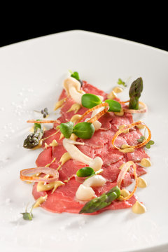 Fine dining beef carpaccio
