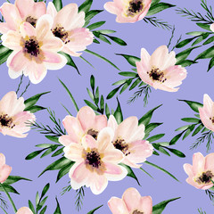 Seamless floral pattern. Watercolor hand drawn