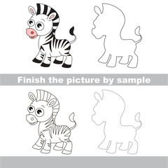 Zebra. Drawing worksheet.