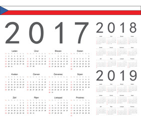 Set of Czech 2017, 2018, 2019 year vector calendars