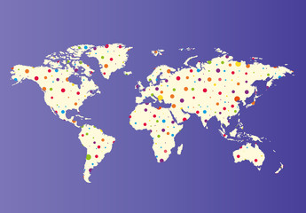World map with colorful points. Vector illustration.