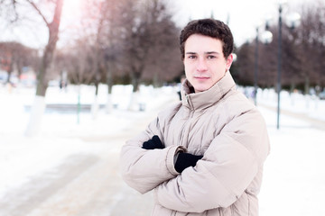 Close-up  guy street jacket outdoors  winter, idea concept  happy confident person, fashion lifestyle, walk weekend