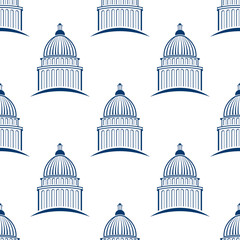 Capitol building seamless pattern background. Vector graphic design illustration