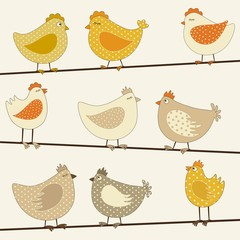 Set of cute stylized chicken