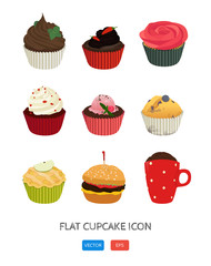 Flat cupcake icon. Cute illustration for print, poster.