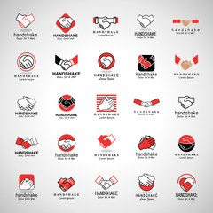 Handshake Icons Set-Isolated On Gray Background-Vector Illustration,Graphic Design.