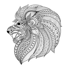 Lion head zentangle stylized for coloring book for adult, T- Shirt graphic,tattoo and so on