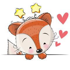 Greeting card cute Fox