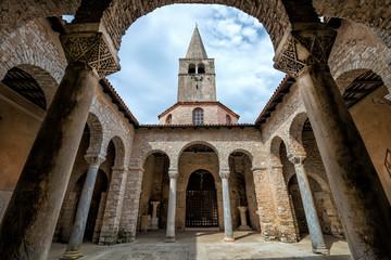 Atrium of Euphrasian basilica, Porec, Istria, Croatia Wide angle view of Atrium of Euphrasian basilica