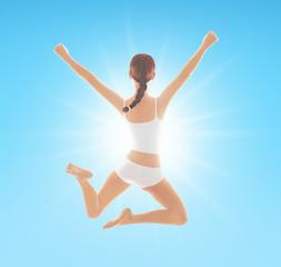 Ragazza salta gioia felicità benessere