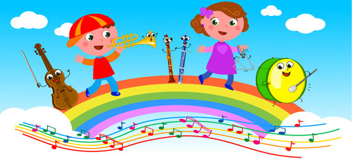 Musical instruments and kids playing on rainbow.