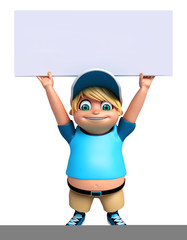 3D Render of Little boy with white board