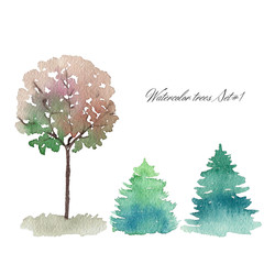 Set of watercolor trees, front view