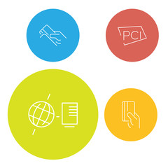 Hand icon payment Flat vector color symbol of connection server.