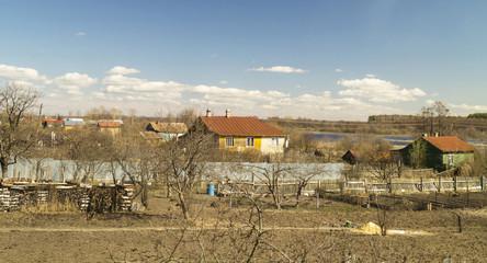 Rural landscape in village by springtime