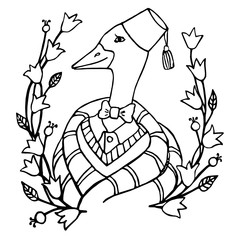 cartoon portrait character of an intelligent goose clothing in the fez and tie coloring page vector illustration