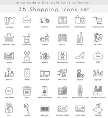 Vector shopping ultra modern outline line icons for web and apps.