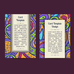 Vector set of boho paisley card template designs, perfect for brochure covers, leaflets, flyers, cards and invitations. Doodle design.