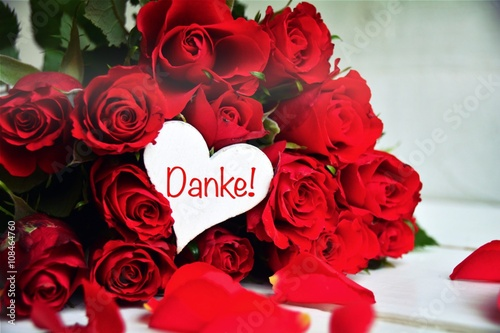 Rote Rosen Blumenstrauss Danke Rosenstrauss Stock Photo And