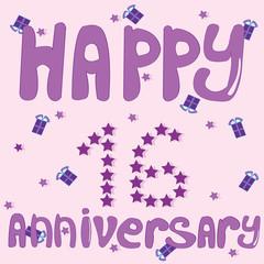 Happy Anniversary 16 girl. Vector Illustration.