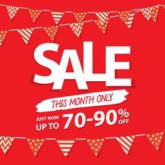 Sale this month heading design for banner or poster. Sale and di