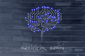 microchip circuit brain with led lights, caption artificial brai